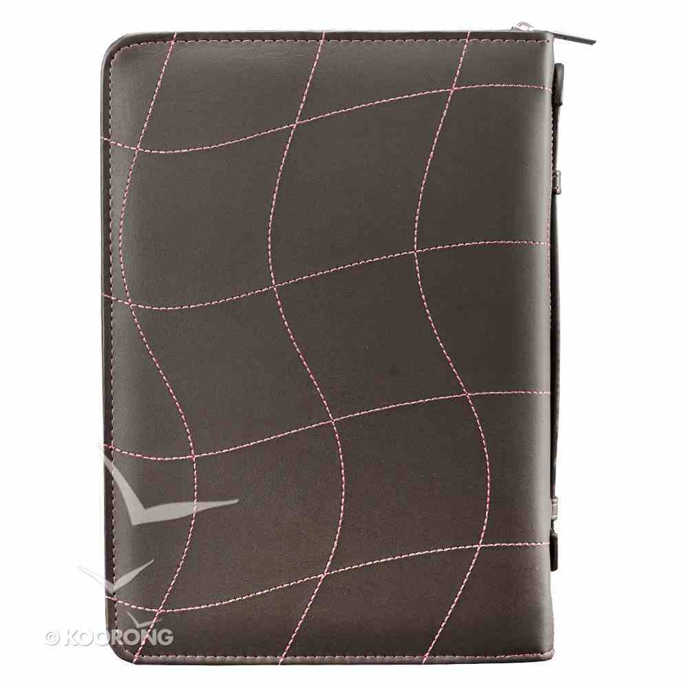 Bible Cover Trendy Large: Love, Pink/Brown, 1 Cor 13:4-8, Carry Handle, Luxleather Bible Cover
