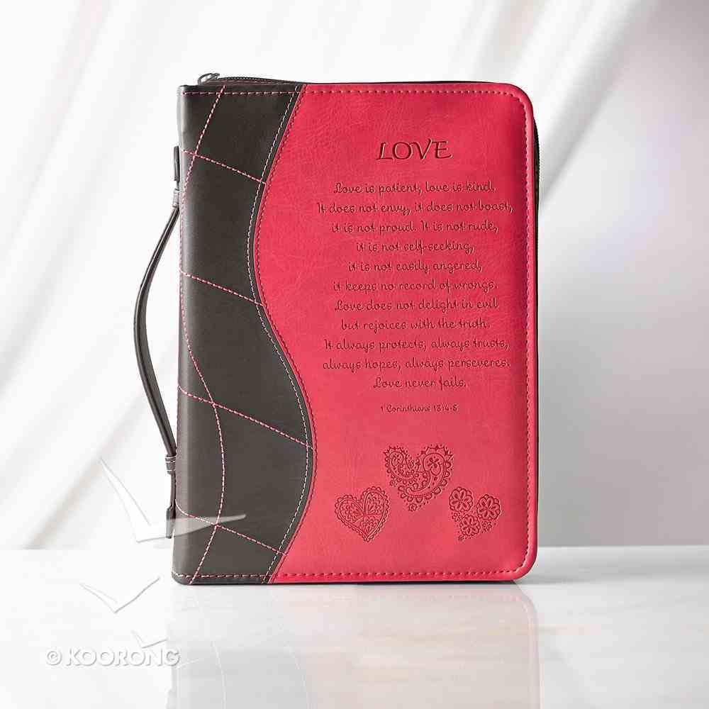 Bible Cover Trendy Medium: Love, Pink/Brown, Carry Handle Luxleather (1 Cor 13:4-8) Bible Cover