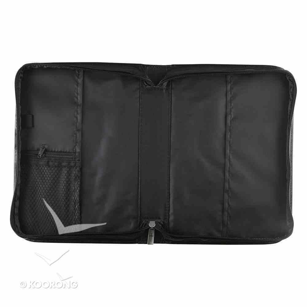 Bible Cover Black/White Vines Medium - Psalm 46: 10 Luxleather Imitation Leather