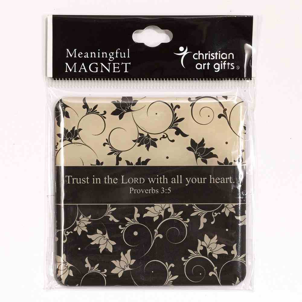 Meaningful Magnet: Black and White Flowers Novelty