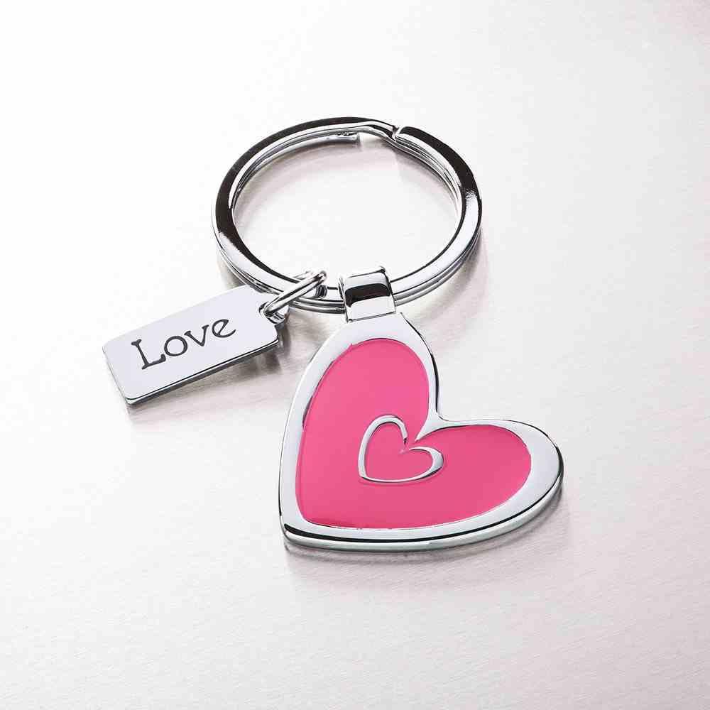 Metal Keyring: Pink Heart Jewellery