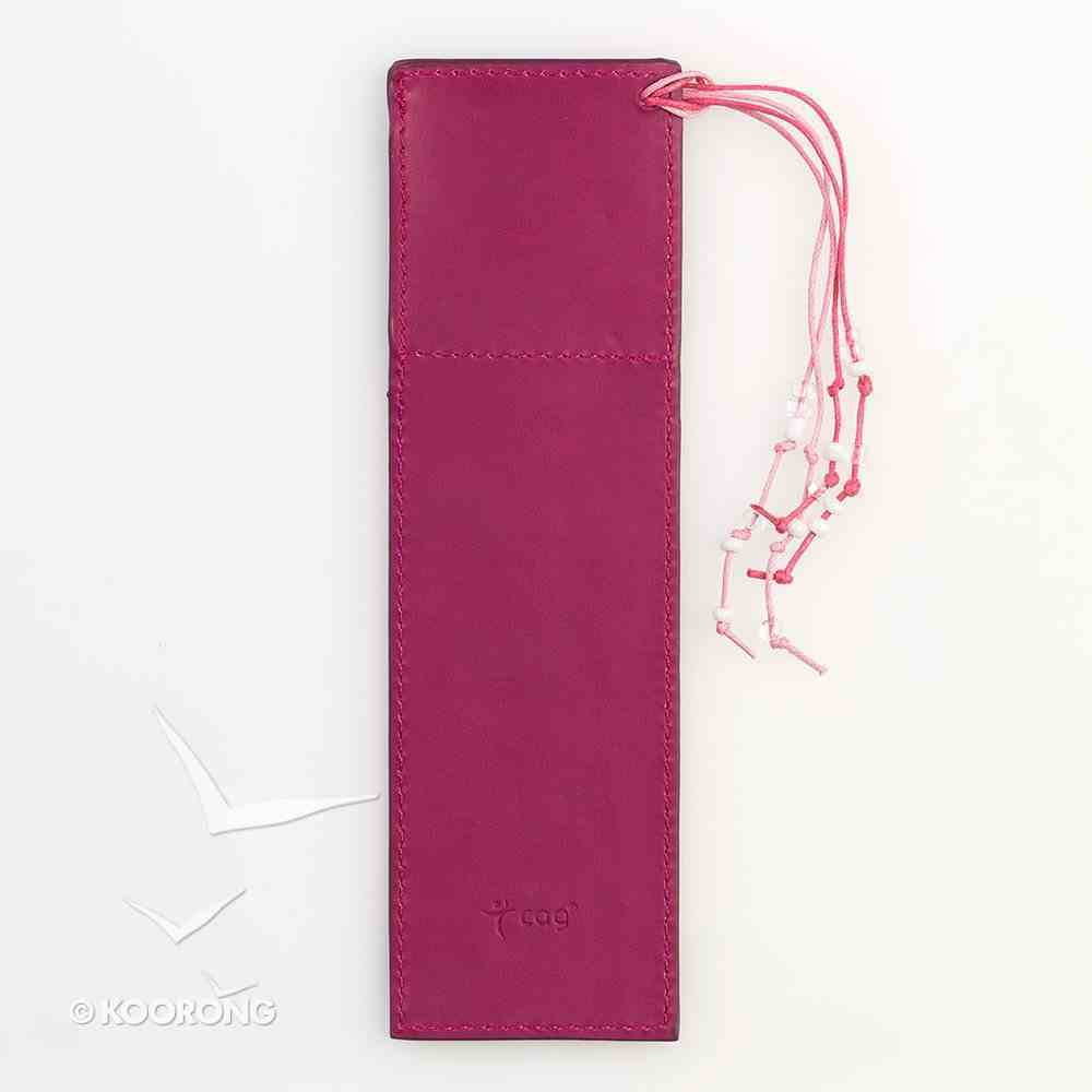 Bookmark With Photo Frame: Luxleather Pink With Beaded Tassel Imitation Leather