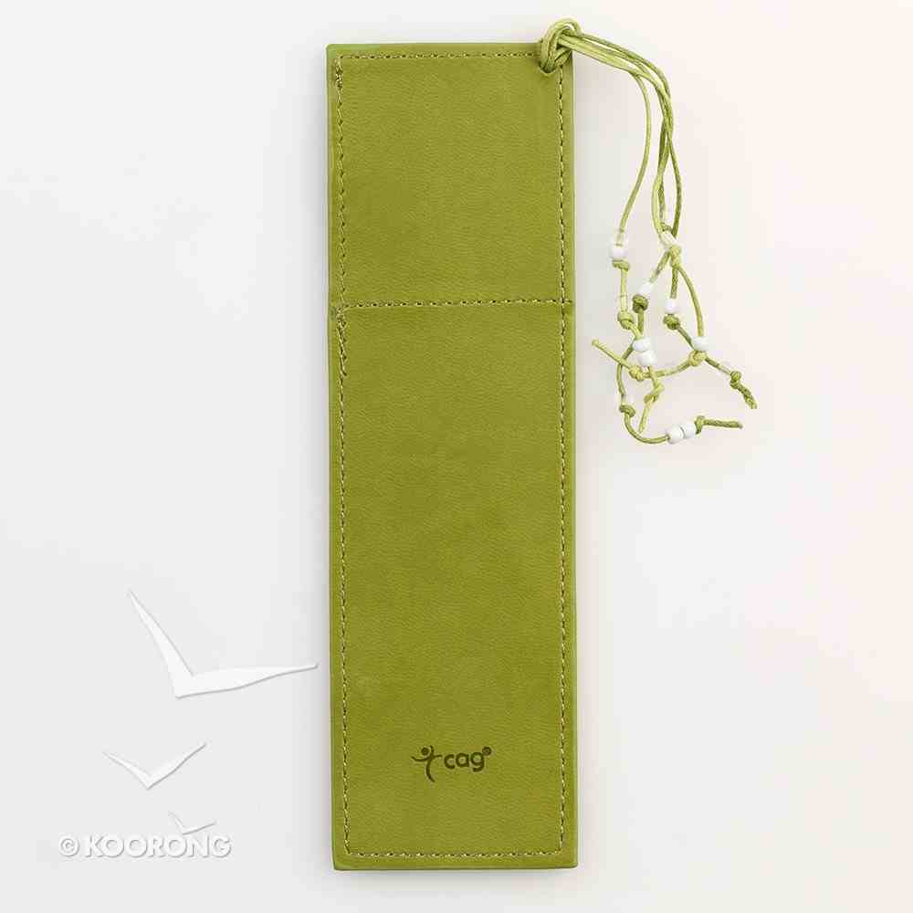 Bookmark With Photo Frame: Luxleather Green With Beaded Tassel Imitation Leather