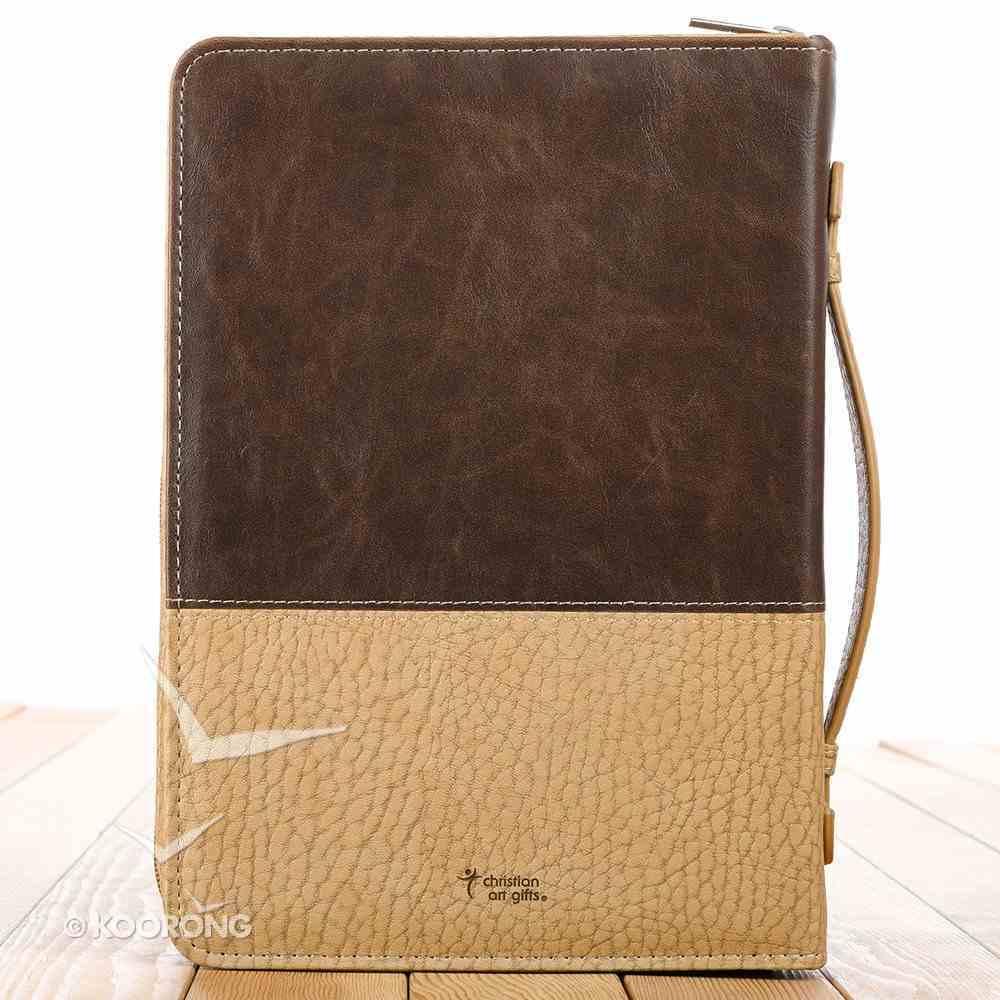 Bible Cover Classic Medium: John 3:16 Cross, Brown/Tan Bible Cover
