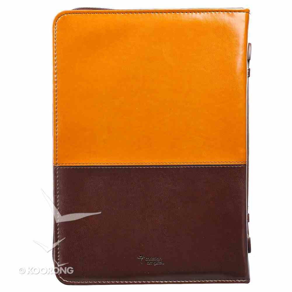 Bible Cover Stand Firm in the Lord, Luxleather Brown/Dark Brown, Medium Phil 4: 1 Imitation Leather
