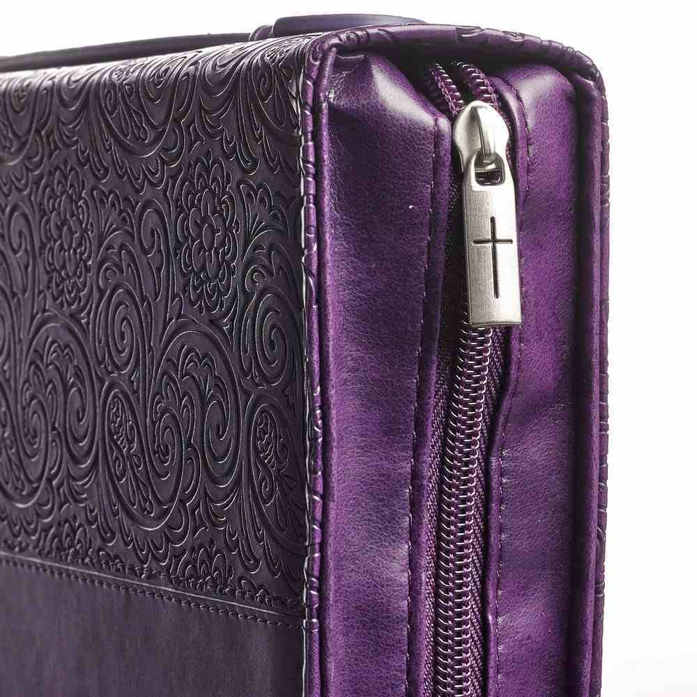 Bible Cover Trendy Large: Faith, Purple Pattern, Carry Handle, Luxleather Bible Cover