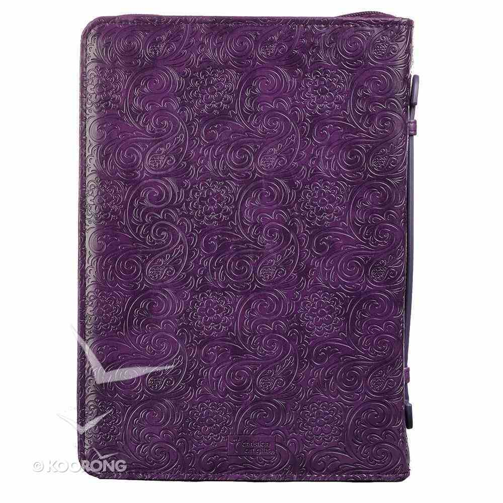Bible Cover Trendy Medium: Faith, Purple Pattern, Carry Handle, Luxleather Bible Cover