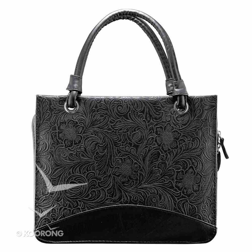 Bible Cover Elegant Purse-Style Large Black Swirls Luxleather Bible Cover