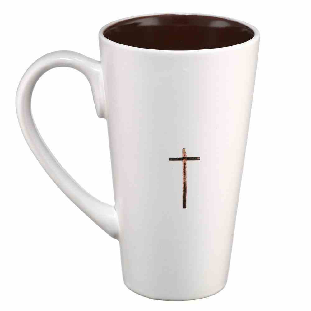 Ceramic Mug: I Am the Light of the World, White/Brown Cross (473ml) Homeware