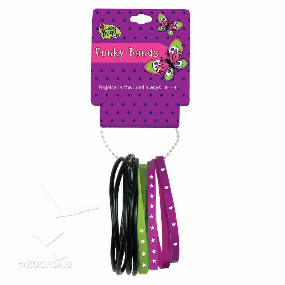 Funky Bands Laedee Bugg Black, Green & Purple, Wear Them as Wrist Bands Or Hair Bands Novelty