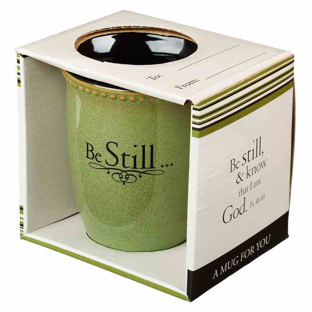 Mug Rimmed Glazed: Be Still, Sage Green (Psalm 46:10) (384ml) Homeware
