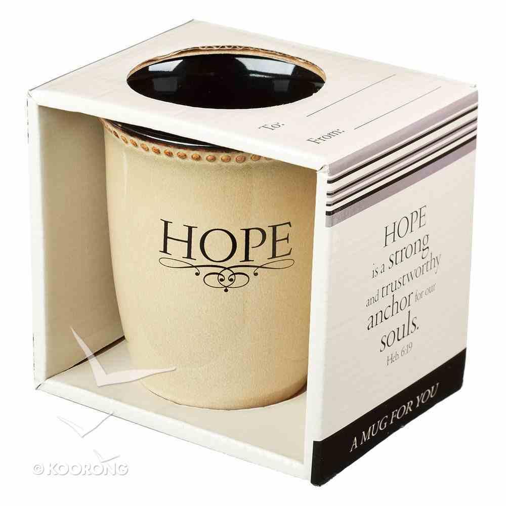 Mug Rimmed Glazed: Hope, Ivory (Hebrews 6:19) (384ml) Homeware
