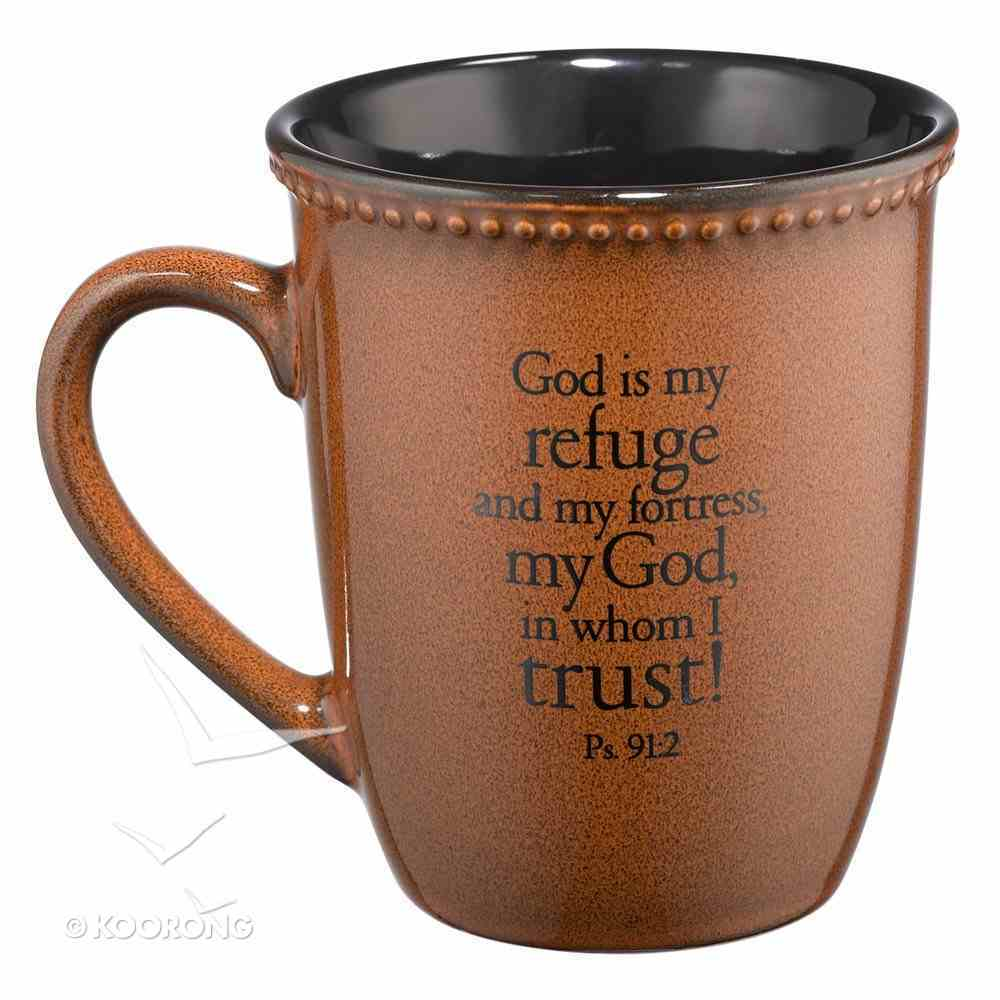 Mug Rimmed Glazed: Trust, Saddle Tan (Psalm 91:2) (384ml) Homeware