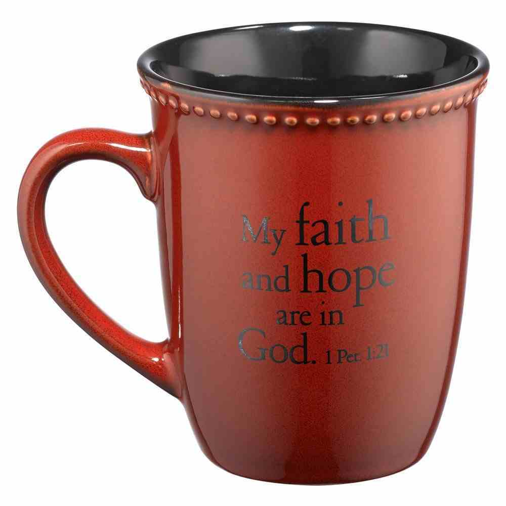 Mug Rimmed Glazed: Faith, Paprika (1 Peter 1:21) Homeware