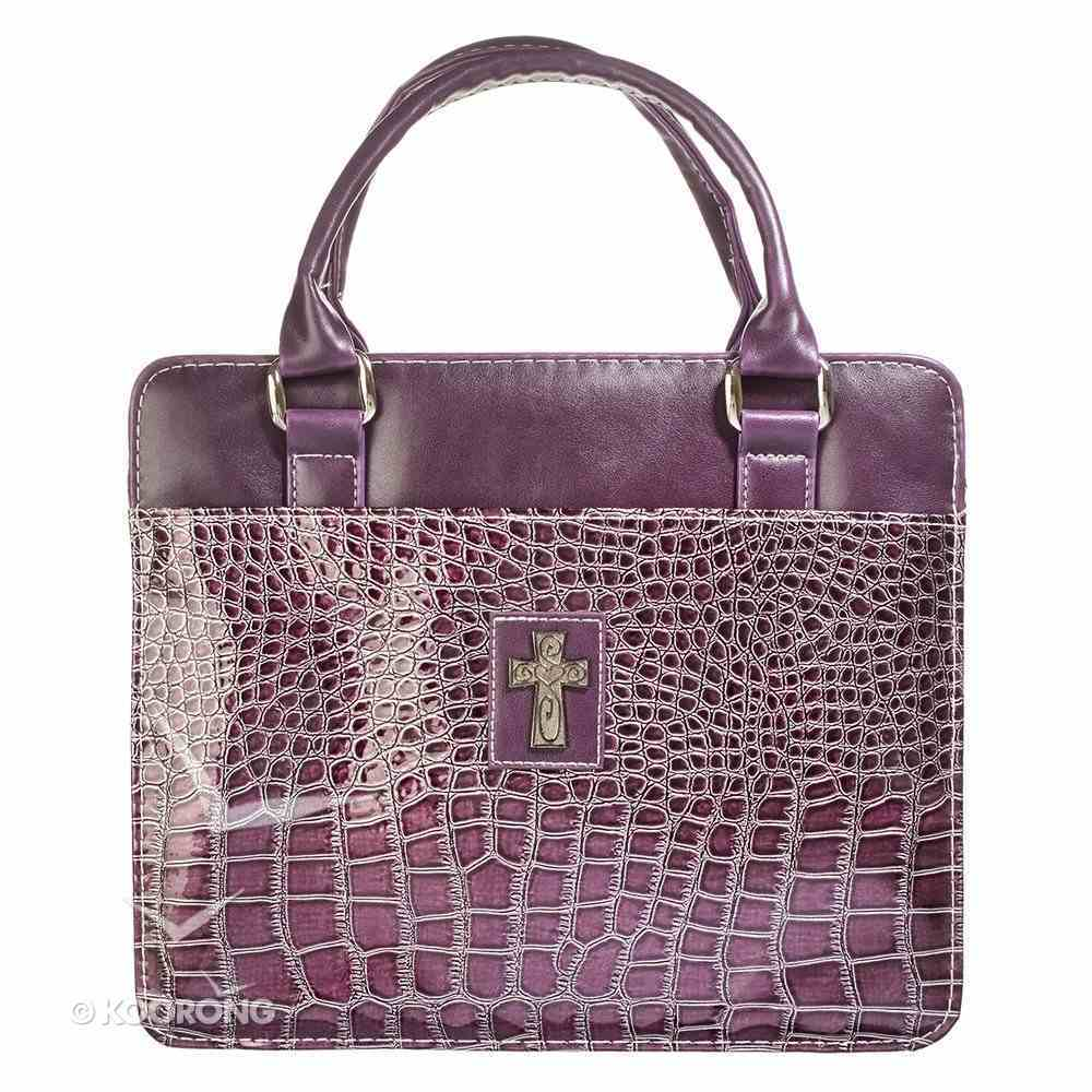 Bible Cover Large Purse Style With Crocodile Embossing in Purple Bible Cover