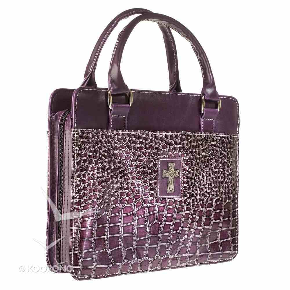 Bible Cover Medium Purse Style With Crocodile Embossing in Purple Bible Cover