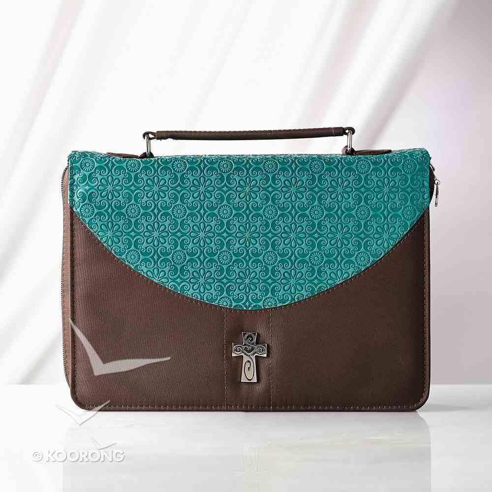 Bible Cover Micro-Fiber: Turq/Brown Large Luxleather Imitation Leather
