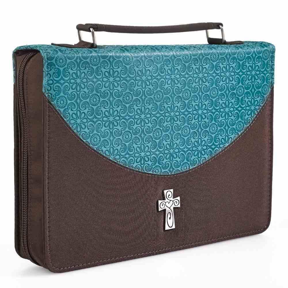 Bible Cover Micro-Fiber: Turq/Brown Medium Luxleather Imitation Leather