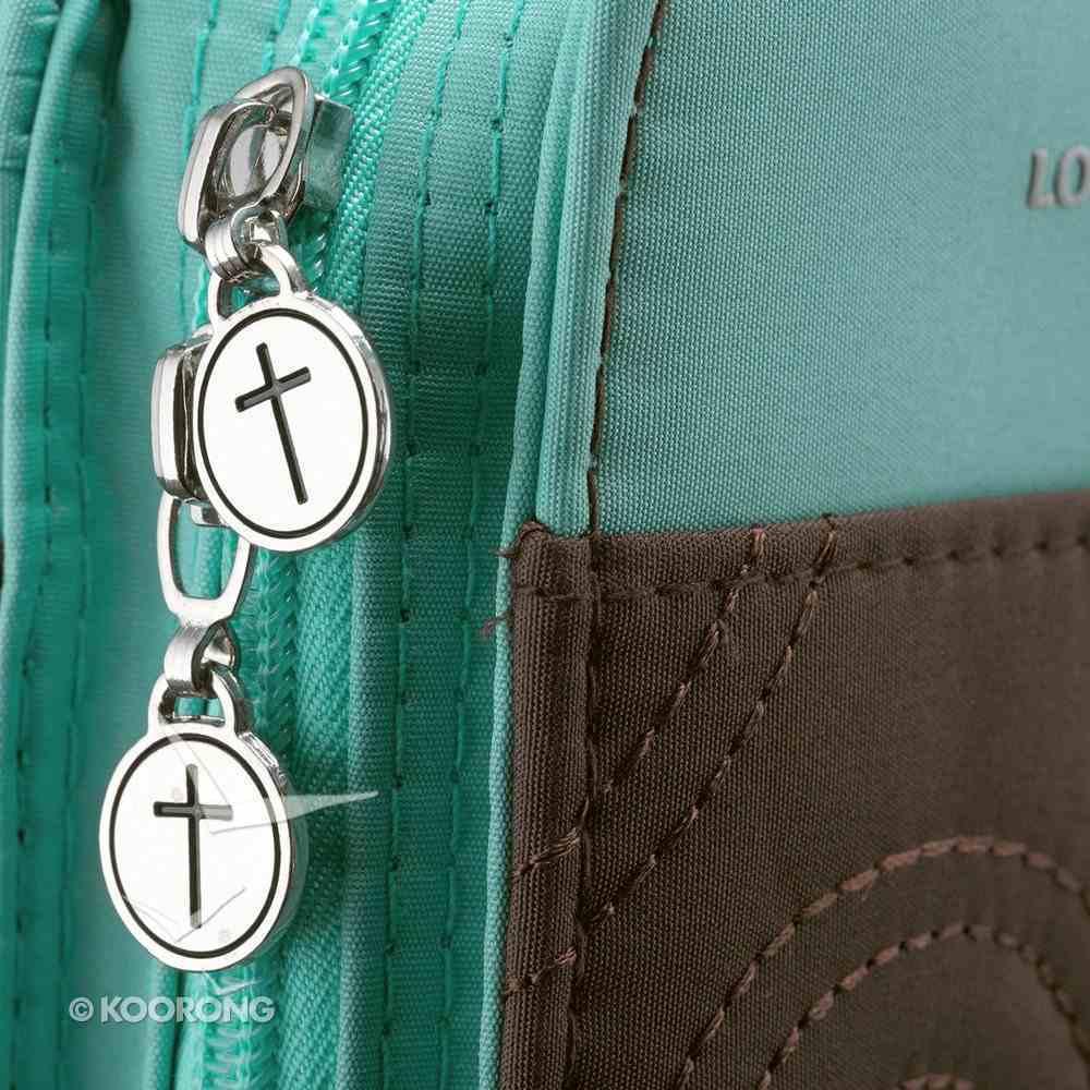 Bible Cover Micro-Fiber: Purse-Style Medium Turq/Brown Bible Cover