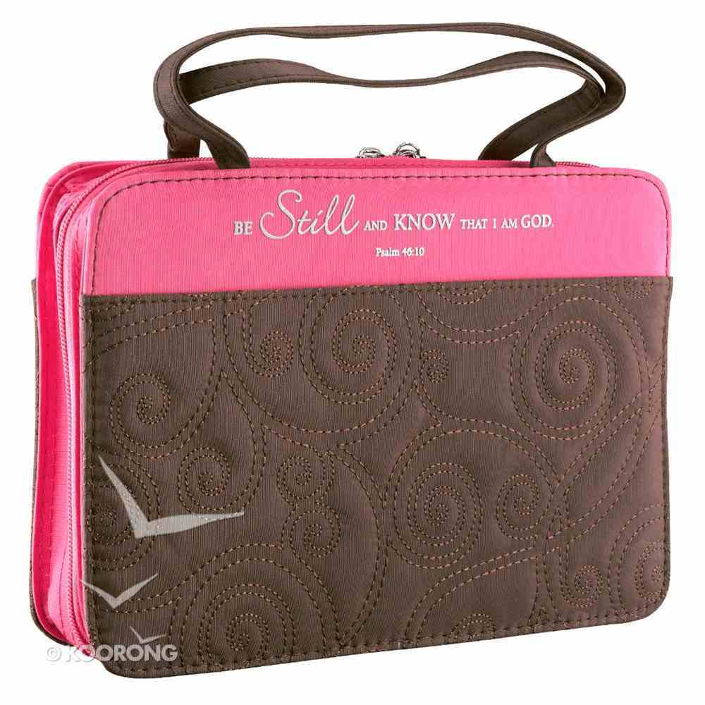 Bible Cover Micro-Fiber: Purse-Style Medium Pink/Brown Bible Cover