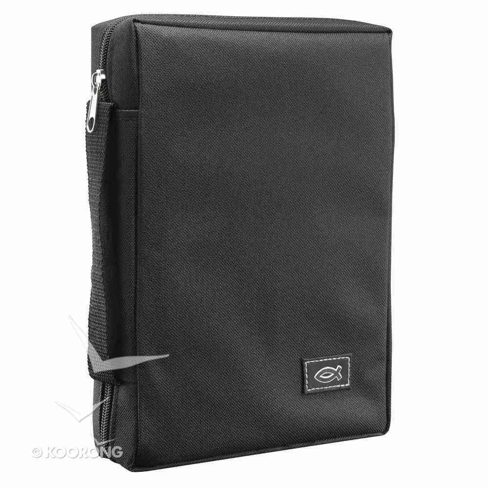 Bible Cover Medium Polyester Canvas With Fish Emblem in Black Bible Cover