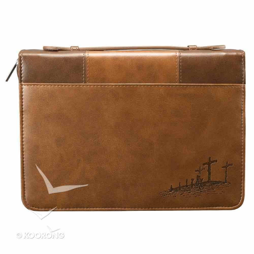 Bible Cover John 3: 16 Brown/Tan Medium Two-Tone Luxleather Imitation Leather