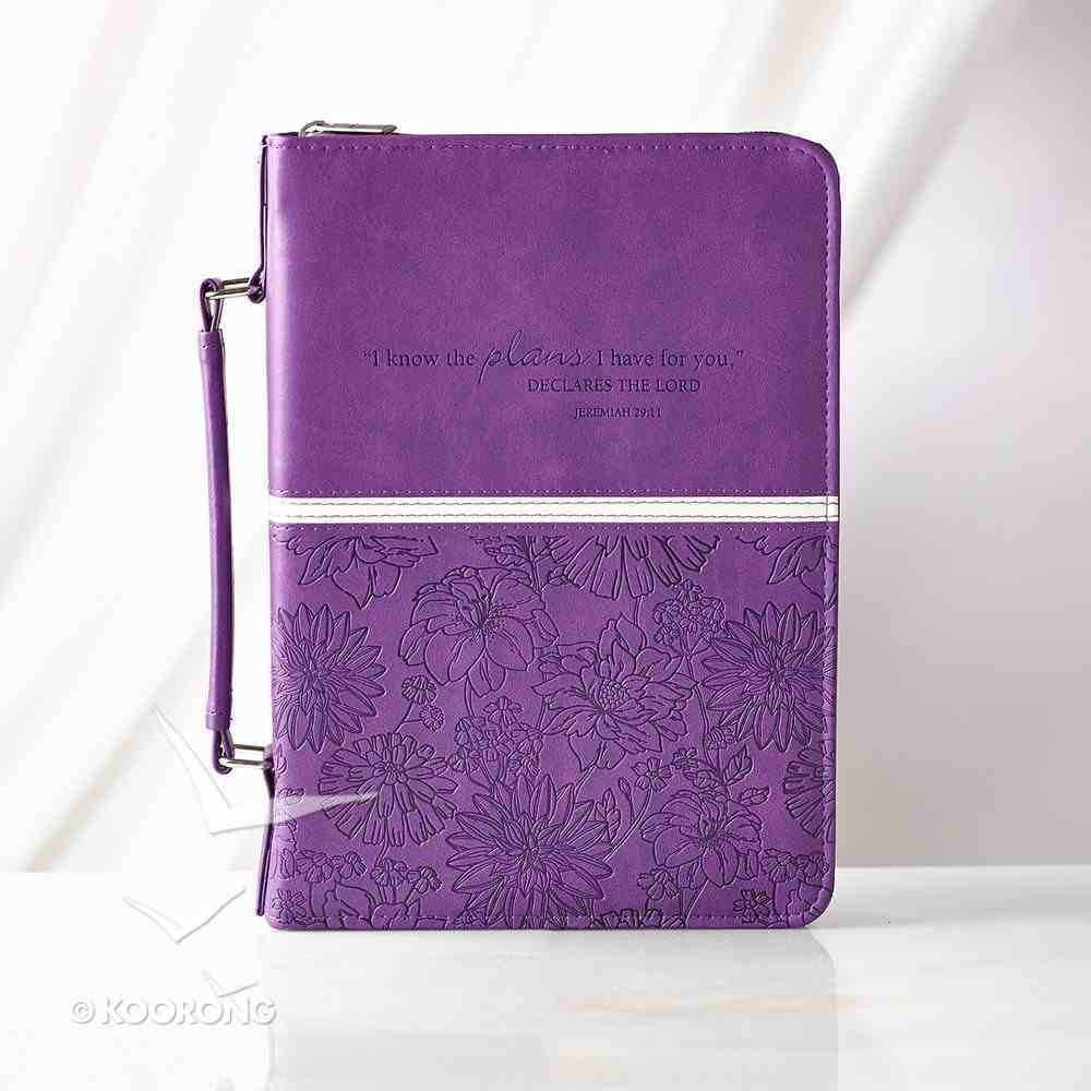 Bible Cover I Know the Plans Medium: Jeremiah 29:11, Purple Imitation Leather