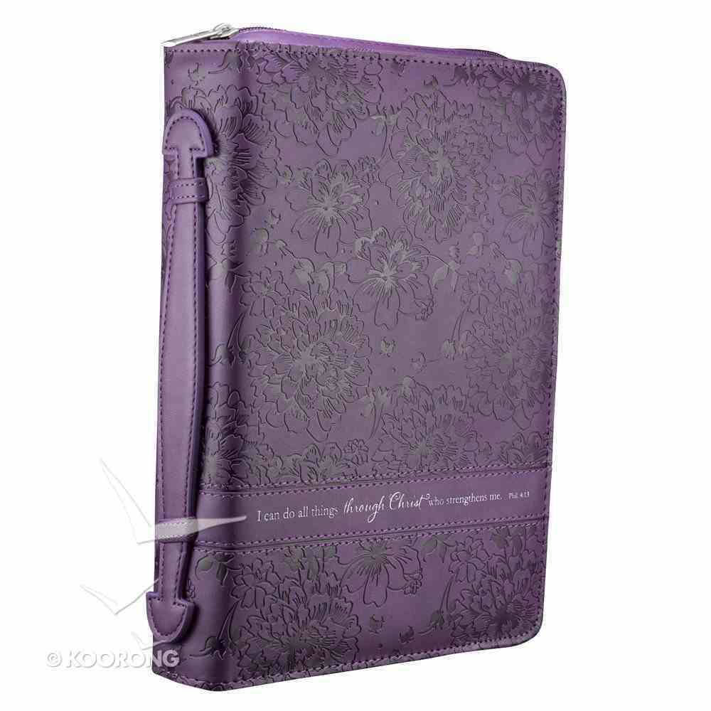 Bible Cover Fashion Trendy Large: I Can Do All Things, Purple Phil 4:13 Imitation Leather