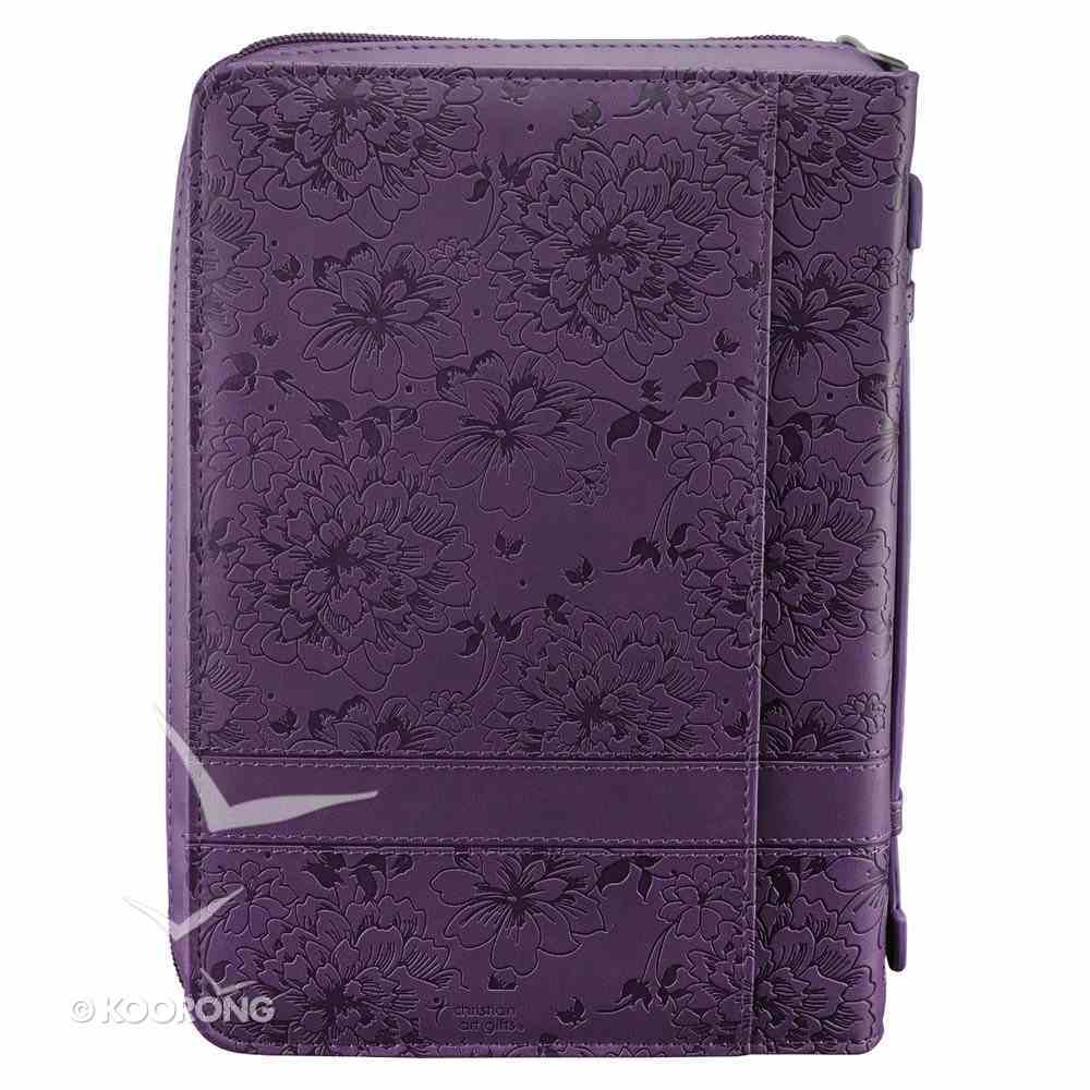 Bible Cover Medium: I Can Do All Things Phil 4:13 Purple Imitation Leather
