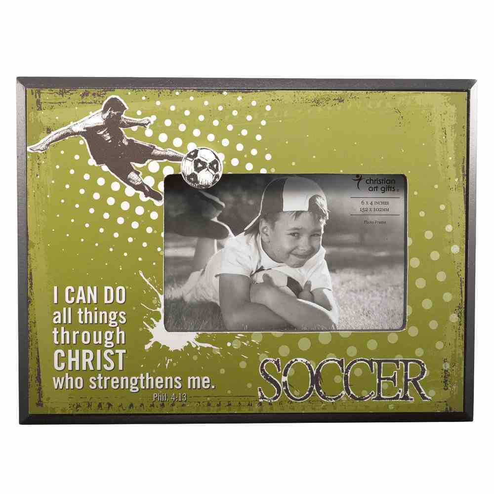 Wooden Photo Frame: Soccer I Can Do All Things Through Christ (Phil 4:13) Homeware