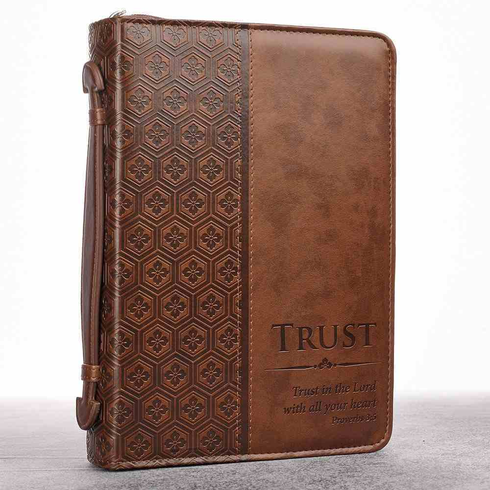 Bible Cover Classic Large: Trust Prov 3:5, Brown Luxleather Bible Cover