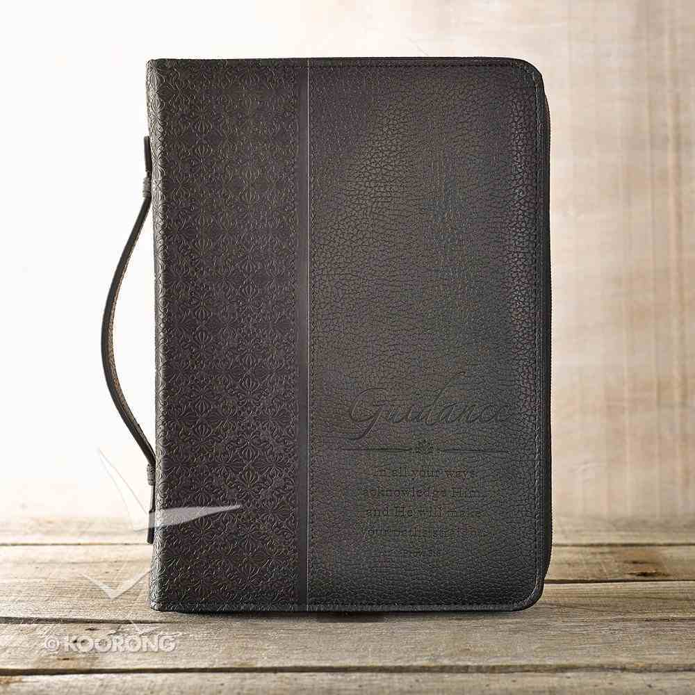 Bible Cover Classic Medium: Guidance Proverbs 3:6 Black Luxleather Bible Cover