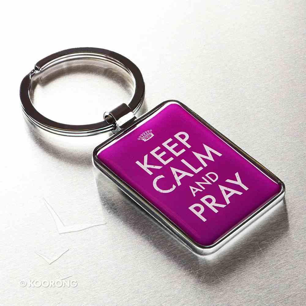 Metal Keyring: Keep Calm and Pray Purple Jewellery