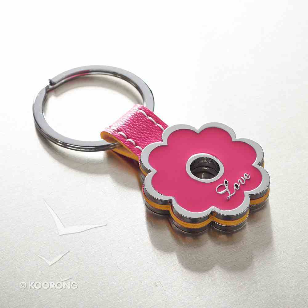 Metal Keyring: Love, Pink Flower Jewellery