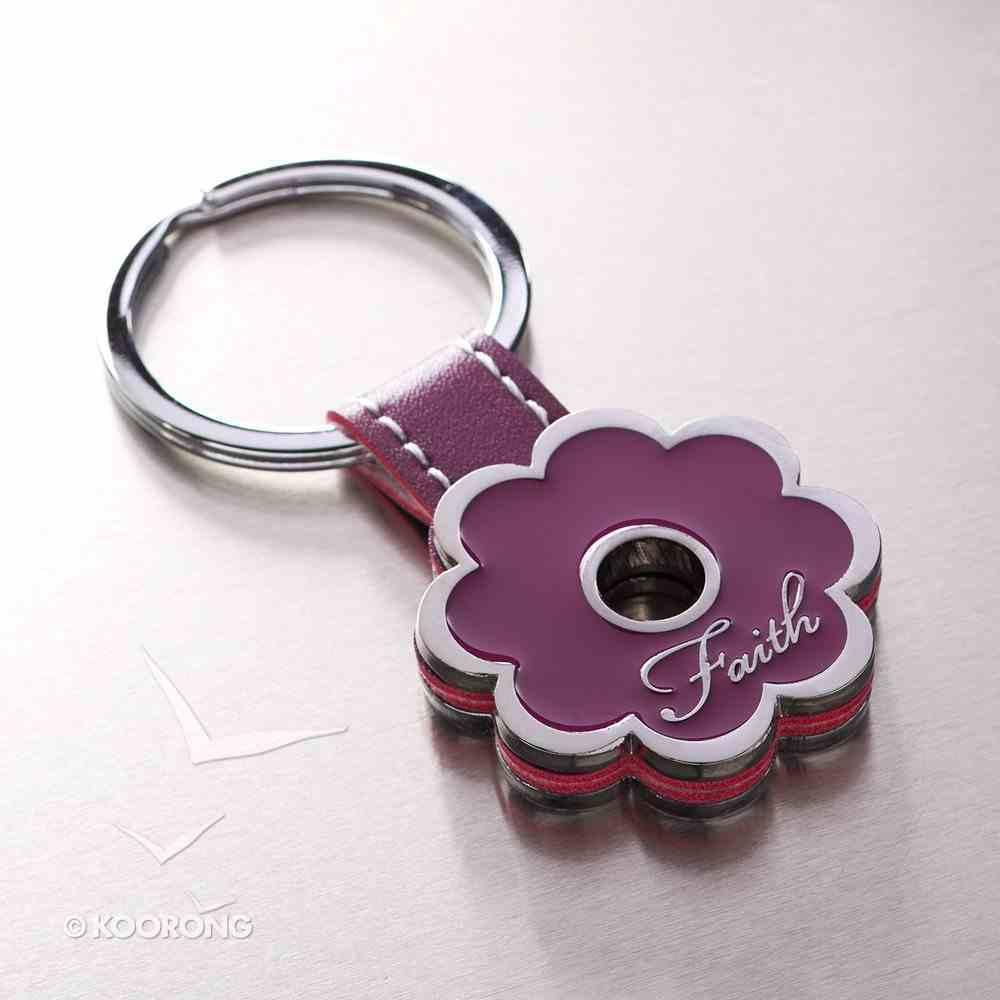 Metal Keyring: Faith, Purple Flower Jewellery