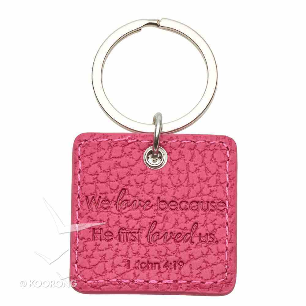 Luxleather Keyring With Charm: Love Pink Jewellery