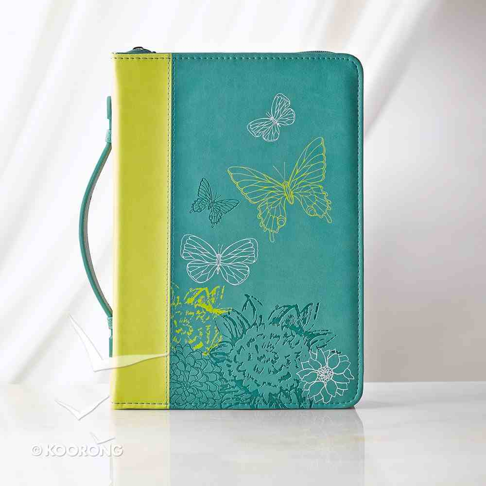 Bible Cover Lime/Dusty Blue Butterflies Medium Luxleather Imitation Leather