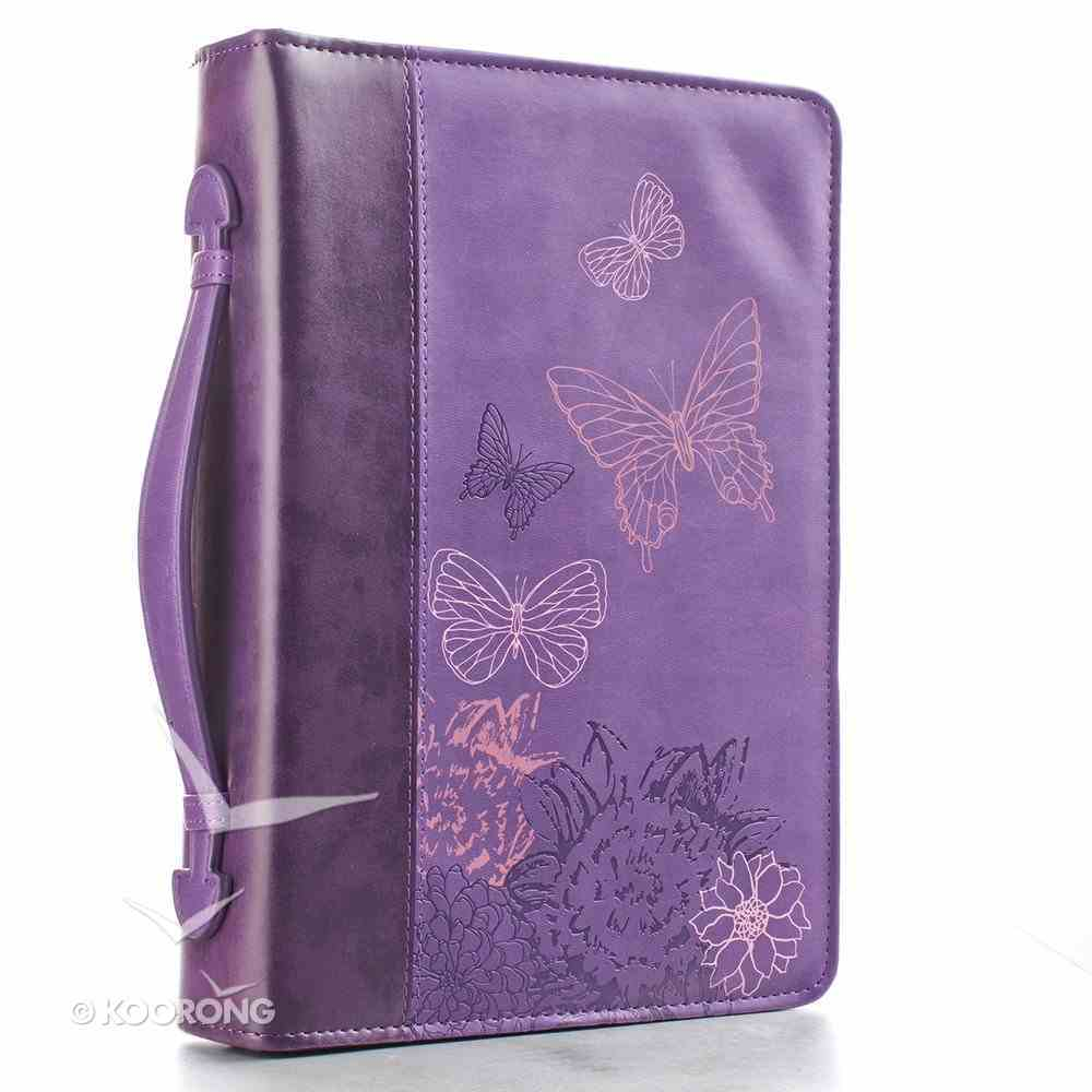 Bible Cover Purple Butterflies Large Luxleather Imitation Leather