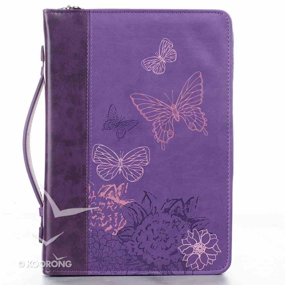 Bible Cover Purple Butterflies Medium Luxleather Imitation Leather