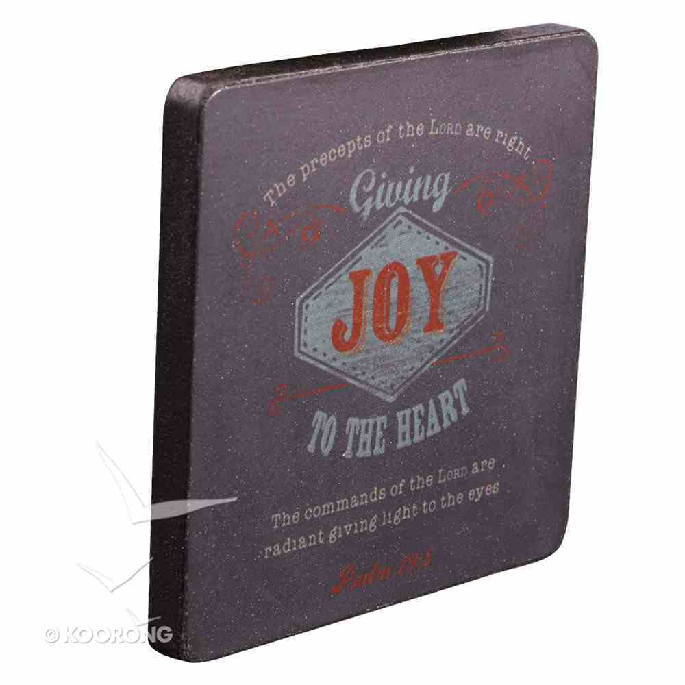 Wooden Magnet With Hanging Tag: Joy Navy (Retro Blessings 'Joy' Series) Novelty