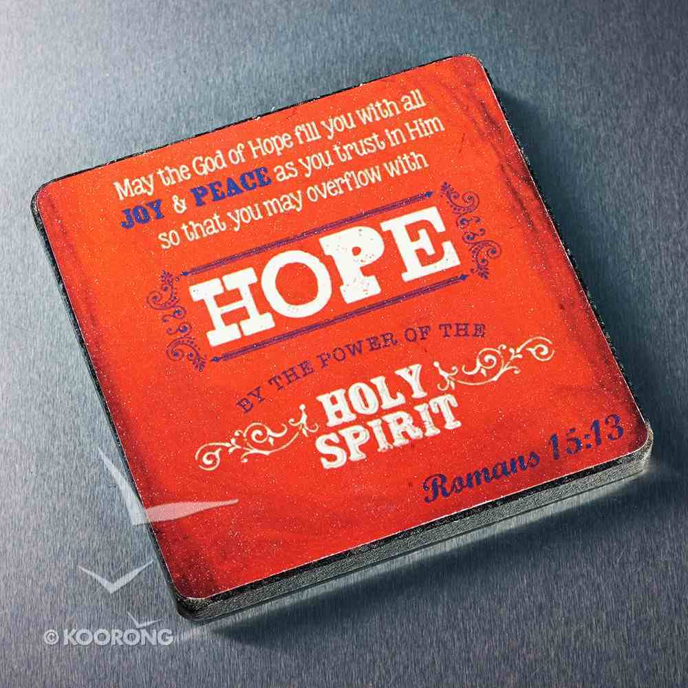 Wooden Magnet With Hanging Tag: Hope Red (Retro Blessings 'Hope' Series) Novelty