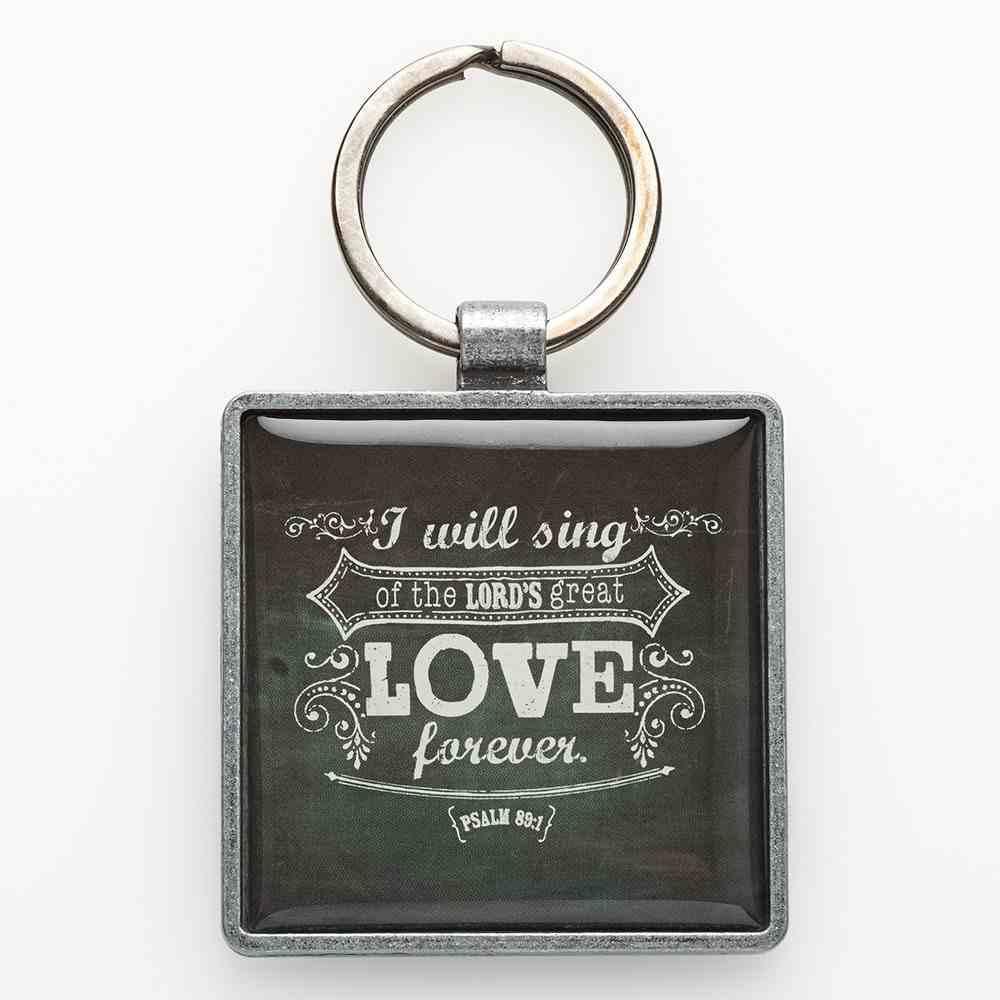 Metal Keyring: Chalkboard Love Black/White Jewellery