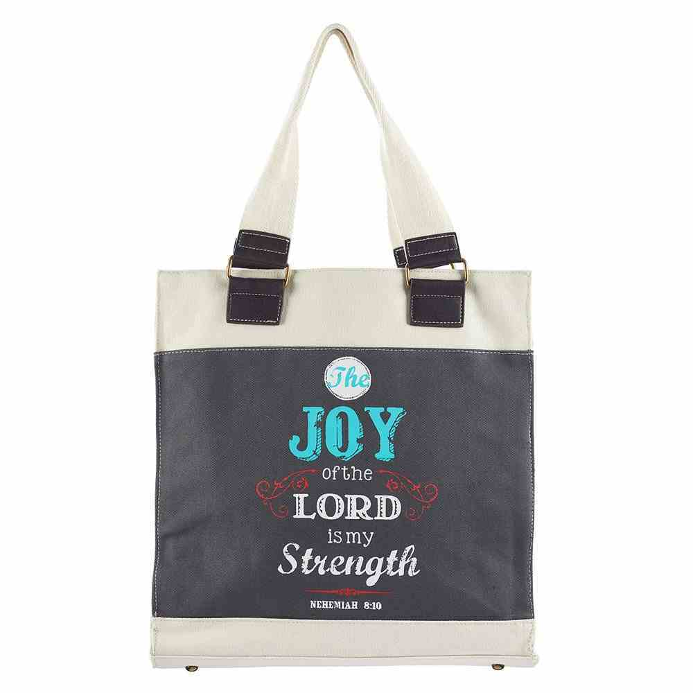 Canvas Tote Bag With Magnetic Clasp: Joy of the Lord, Navy With Cream & Red (Retro Blessings 'Joy' Series) Soft Goods