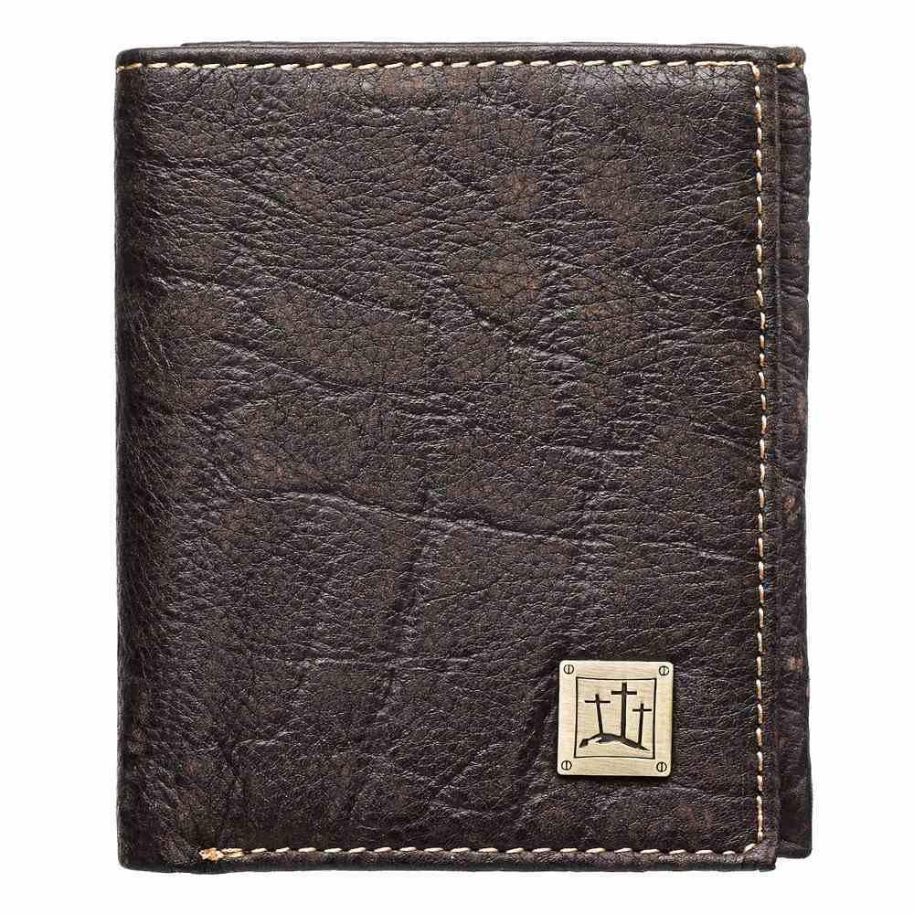 Mens Genuine Leather Wallet: 3 Crosses Soft Goods