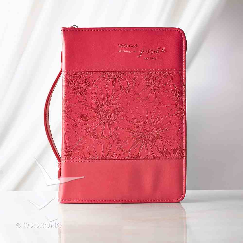 Bible Cover With God All Things Are Possible Pink (Large) Bible Cover
