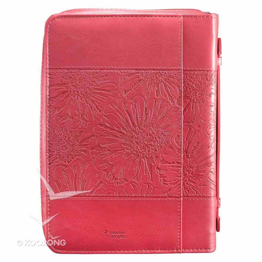 Bible Cover Medium With God Matthew 19: 26 Pink Leather Look Bible Cover