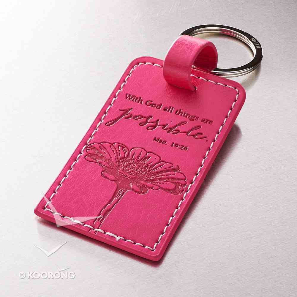 Luxleather Keyring: With God All Things Are Possible Pink Jewellery