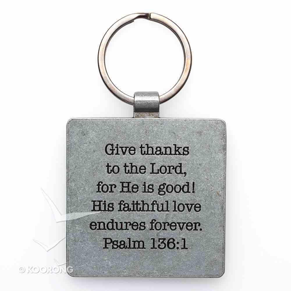 Gratitude Metal Keyring: Give Thanks Square Jewellery