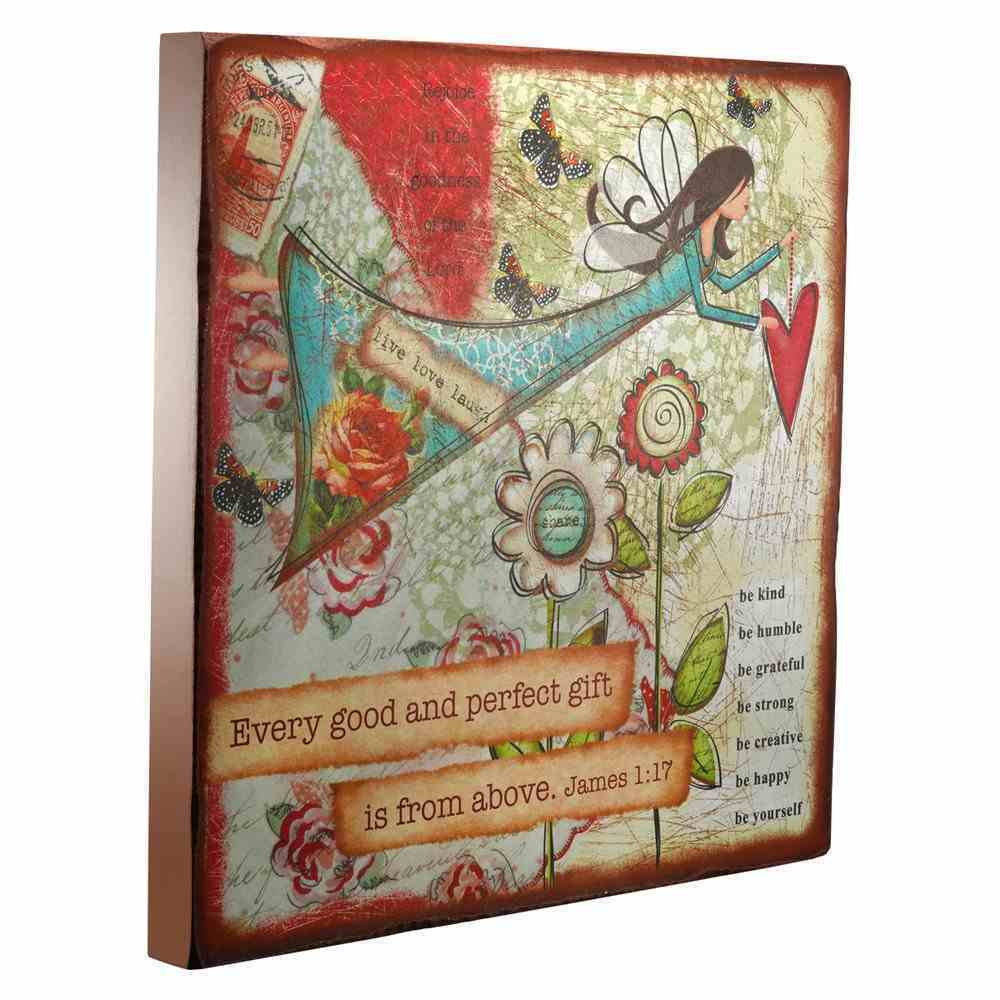 Gratitude Large Wooden Hanging Block: Every Good and Perfect Gift Plaque