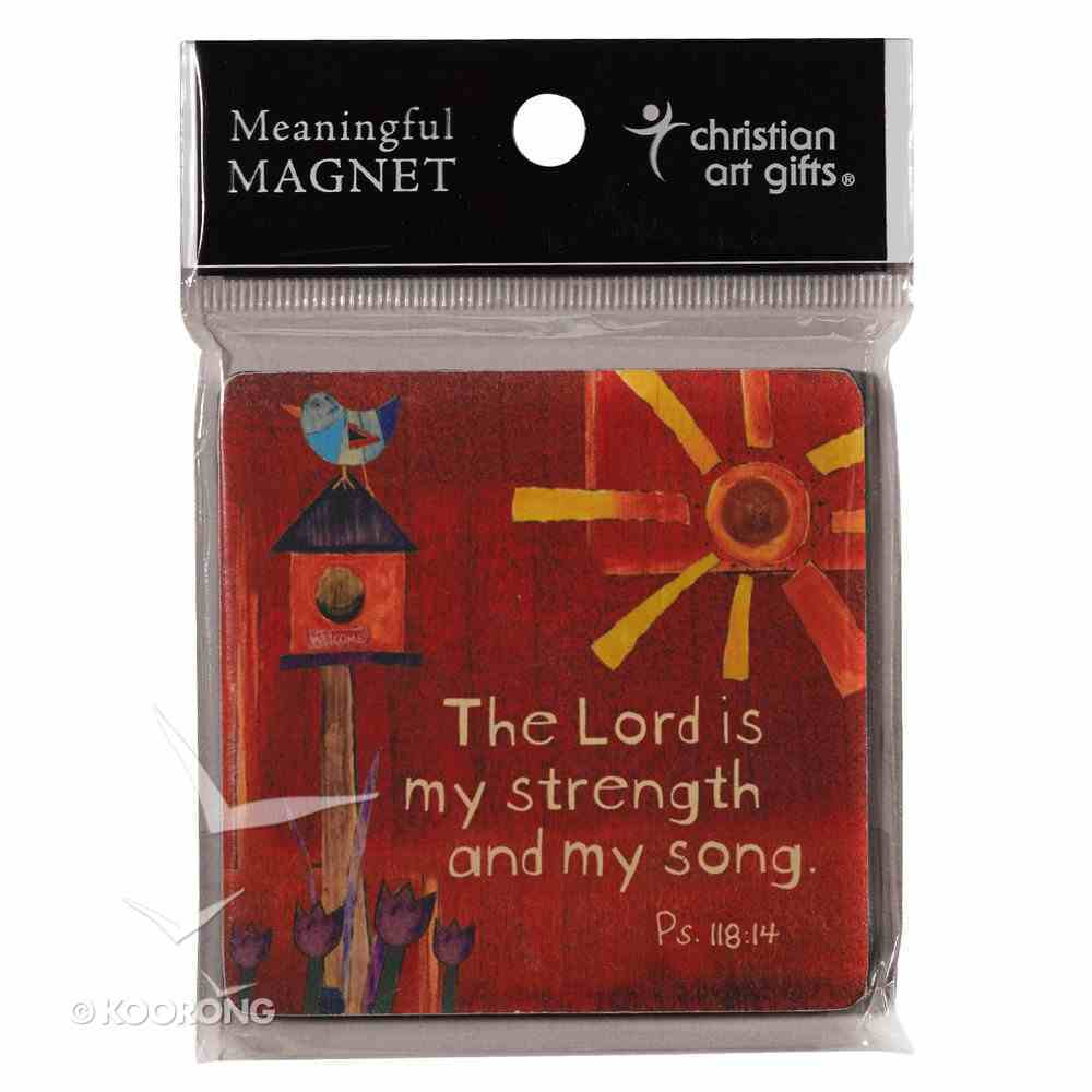 Wooden Magnet With Hanging Tag: The Lord is My Strength: Golden Blossoms Novelty